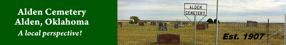 Header for Alden Cemetery in Alden OK